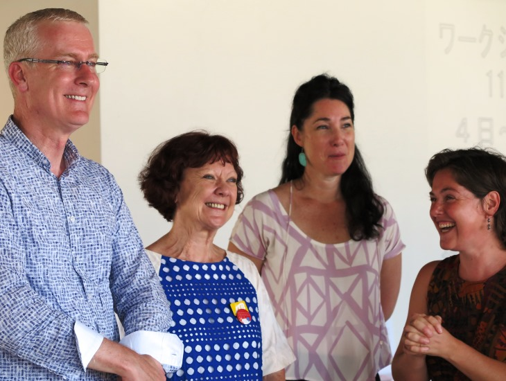 Australian Ambassador Bruce Miller with Debra Hazelton (AFJ) and Asialink Arts residents Joanna Bosse and Naomi Eller