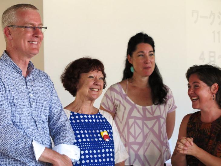 Australian Ambassador Bruce Miller with Debra Hazelton (AFJ) and Asialink Arts residents Joanna Bosse and Naomi Eller
