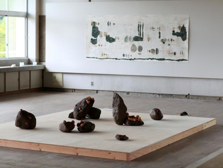 Naomi Eller 2016, 'Language of stone' (foreground), 'Language of stone: Fukuda' (background).