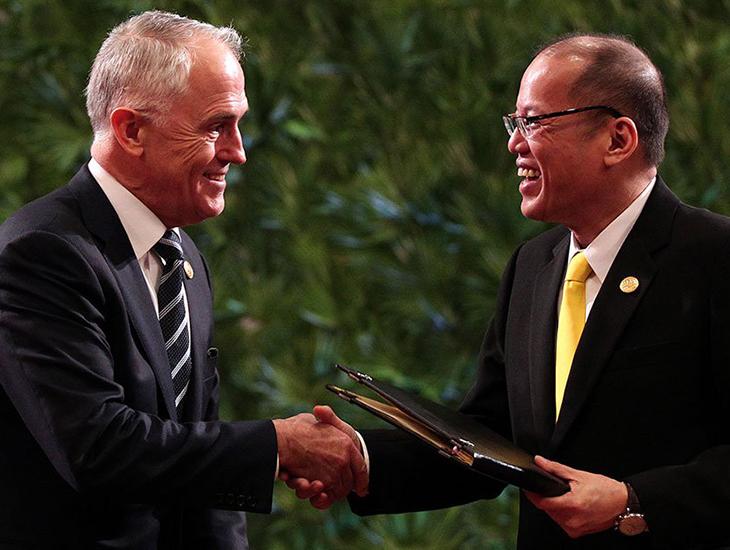 Malcolm Turnbull and Benigno Aquino III