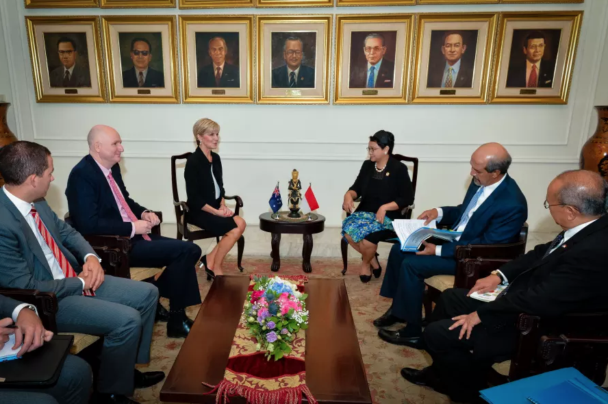 Foreign Minister Julie Bishop meeting with Indonesian Foreign Minister Ms Retno Marsudi. Picture: DFAT