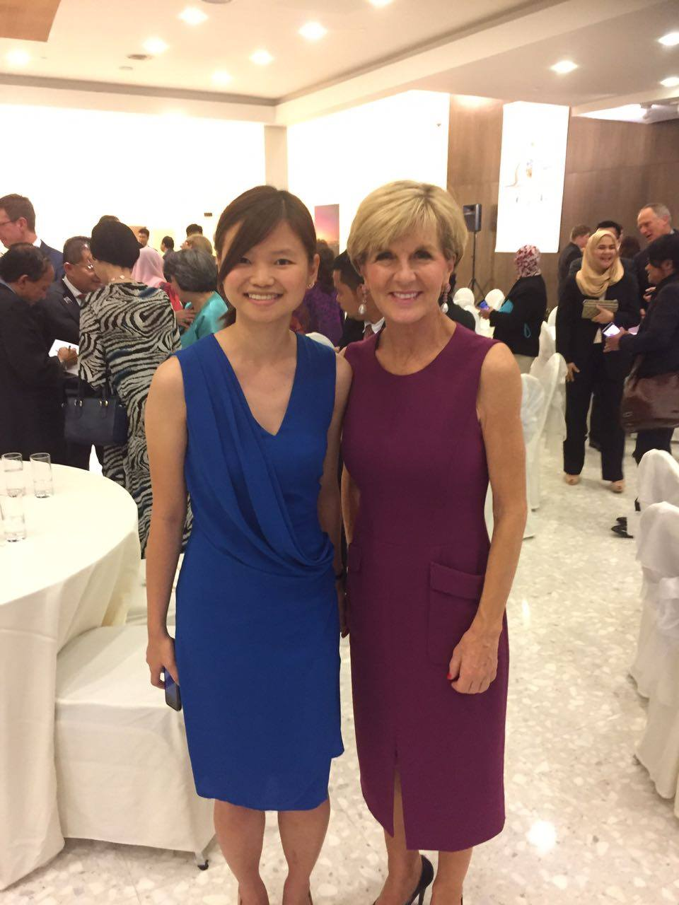 Wen Shin China with the Honourable Julie Bishop MP at the IWD dinner hosted by His Excellency Rod Smith PSM.