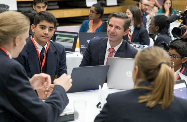 Australian Minister for Trade, Tourism and Investment Senator the Hon Simon Birmingham with students at DFAT Australia's Trade Through Time Australia-ASEAN Youth Forum in Adelaide