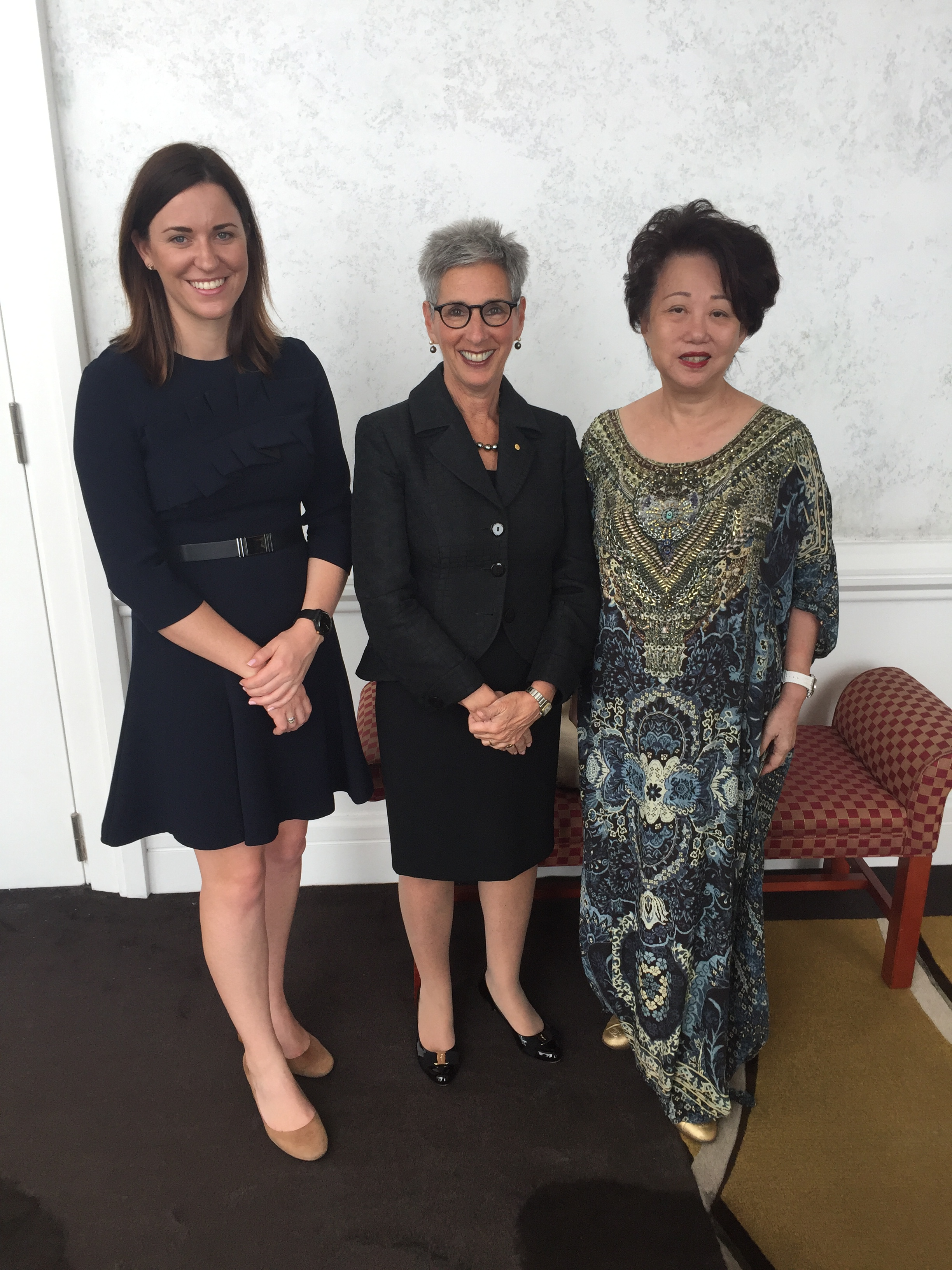 Erin Watson-Lynn (Asialink, Director Diplomacy) Jannie Chan (Women in Leadership Video Series participant) and The Hon. Linda Dessau AC, Governor of Victoria.