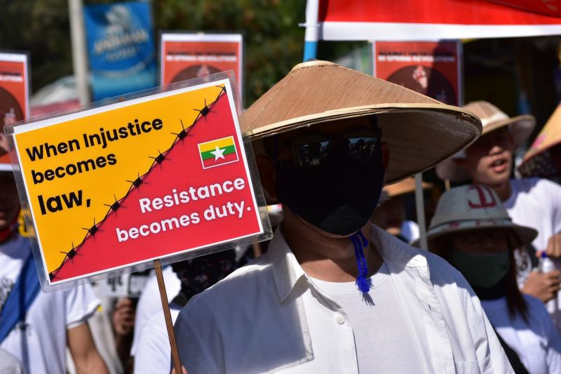 Myanmar protester