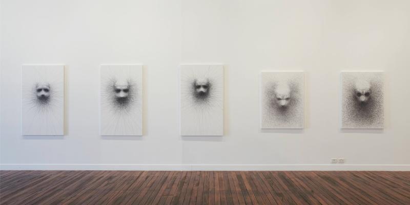 Vernon Ah Kee, Unwritten 2008, Installation view: Milani Gallery, Brisbane, Australia  Charcoal on canvas, 150 x 90 cm each.