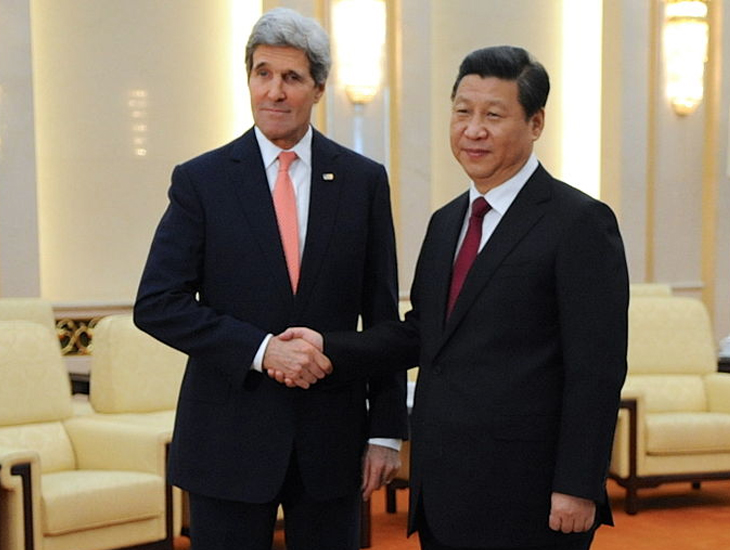 John Kerry and Xi Jinping