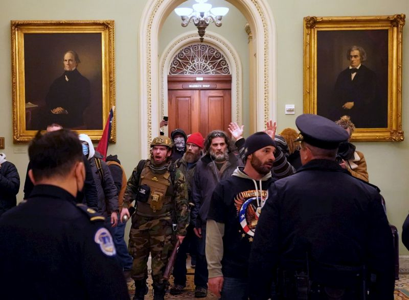 Rioters outside the senate chambers
