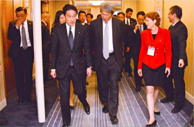 Incoming Japanese PM Fumio Kishida, Asialink CEO Jenny McGregor, Professor Takashi Shiraishi