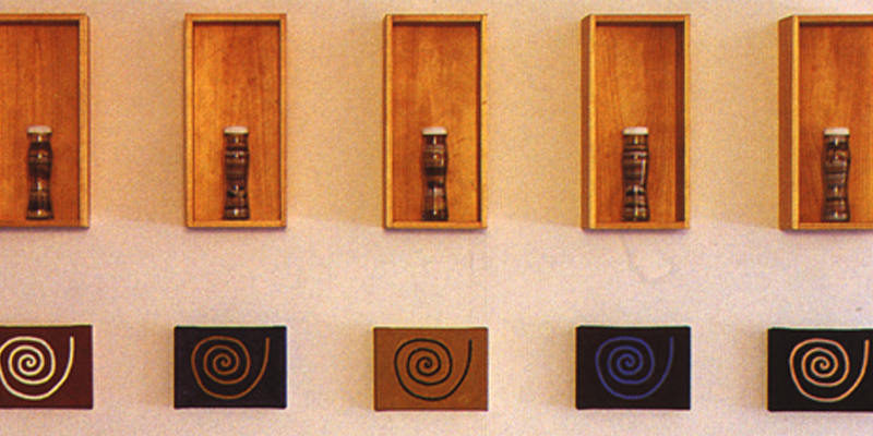 Fiona Foley, Spiral Presence, Coloured Sand, 1997, wooden boxes, glass bottles, sand, paint on canvas (detail)