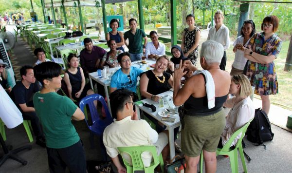 Australia-ASEAN Emerging Leaders program participants at Kranji Countryside Farmers' Market